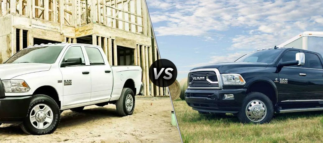 """Driver side exterior view of a white 2018 Ram 2500 on the left """"vs"""" driver side exterior view of a black 2018 Ram 3500 on the right"""