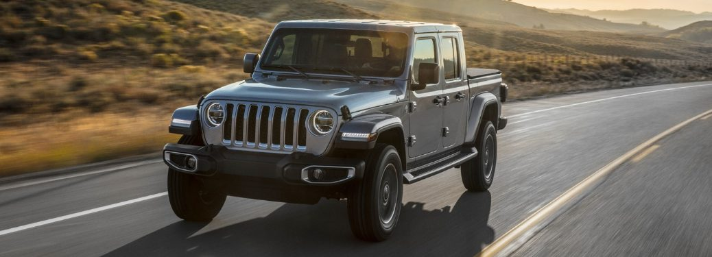 Gray 2020 Jeep Gladiator on a Country Highway