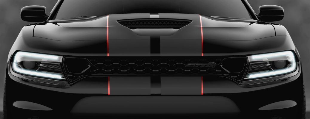 Close-up view of the front of a black 2019 Dodge Charger SRT Hellcat Octane Edition