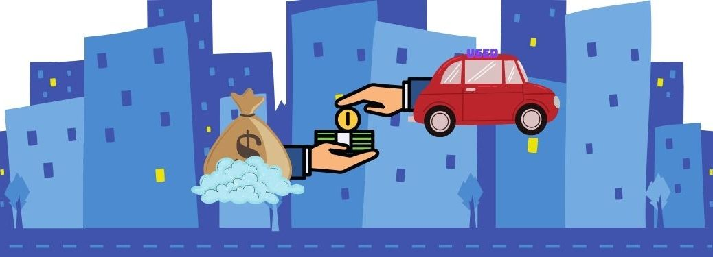 Hand emerges from flying car, gives money to hand emerging from flying money bag