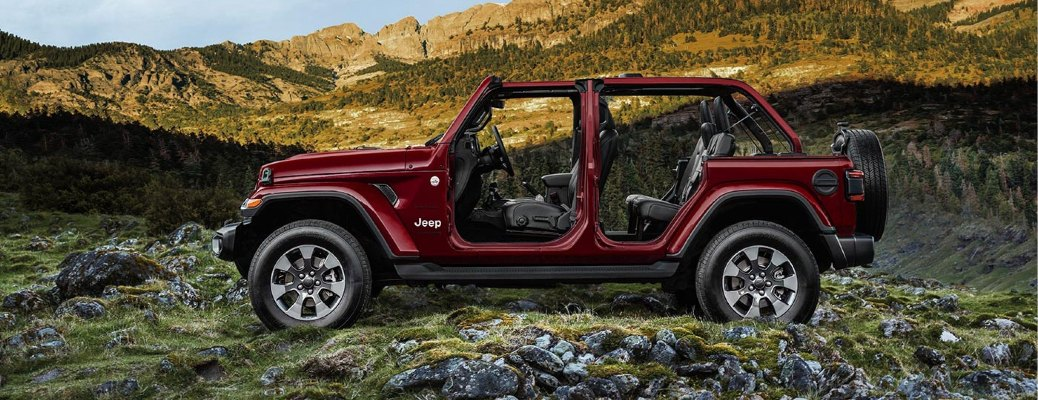 Maroon 2021 Jeep Wrangler with no doors