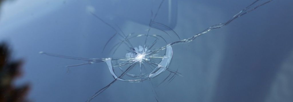 A large crack in a windshield