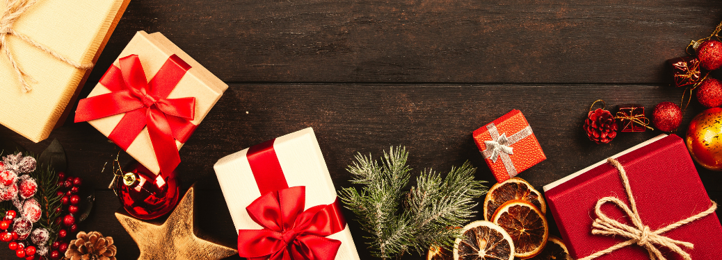 Christmas presents on a wooden floor