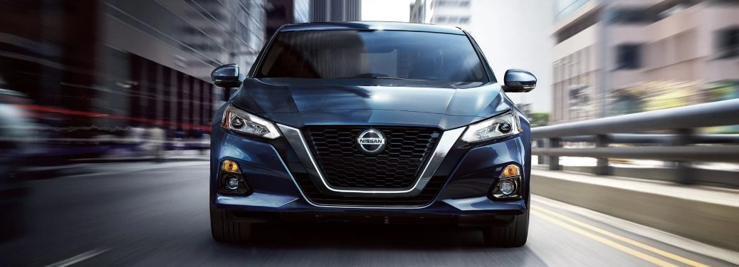 Front end of the 2020 Nissan Altima going down the road