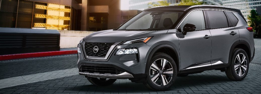 2021 Nissan Rogue parked on a brick road