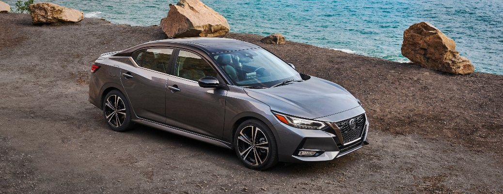 2021 Nissan Sentra parked next to water
