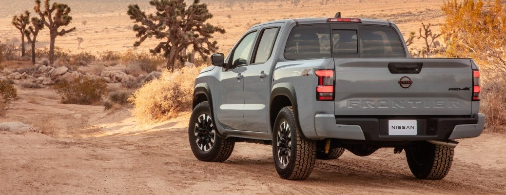 The 2022 Nissan Frontier parked in the desert.
