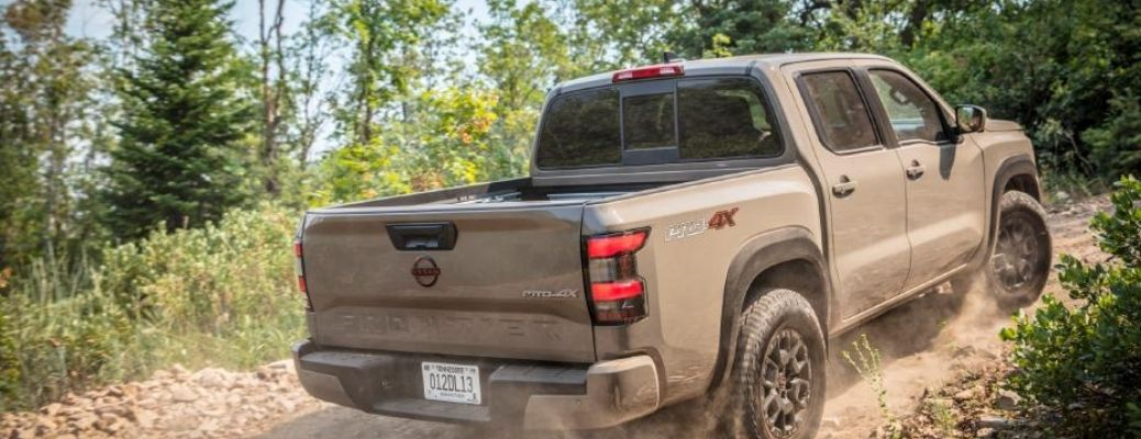 rear quarter view of the 2022 Nissan Frontier