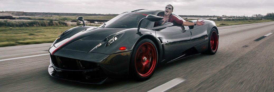 Brett David driving Pagani as Joker at Prestige Imports 2016 Halloween Super Car Run_d