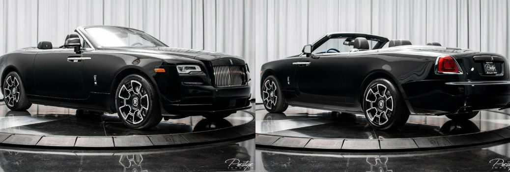 2018 Rolls-Royce Dawn Black Badge Exterior Passenger Side Front and Driver Side Rear with Top Down