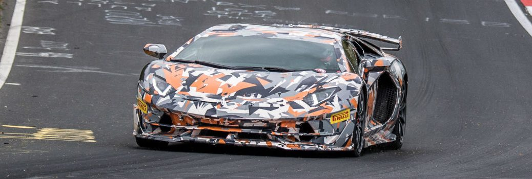 2019 Lamborghini Aventador SVJ in Camouflage Exterior Driver Side Front Angle at the Nürburgring Nordschleife