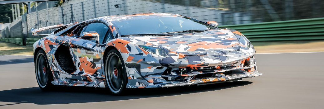 2019 Lamborghini Aventador SVJ Exterior Passenger Side Front Angle in Camouflage at the Nurburgring