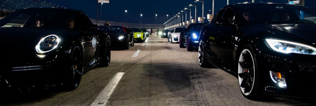 Group of Vehicles at Starting Line for 2018 Halloween Super Car Run