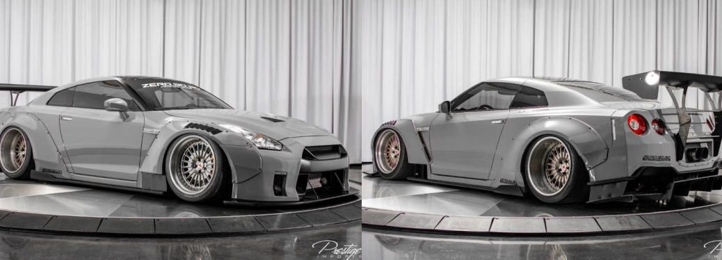 Two side-by-side images of the Nissan GT-R on display. One shows a profile of the front right, while the other picture shows the view from the back left.