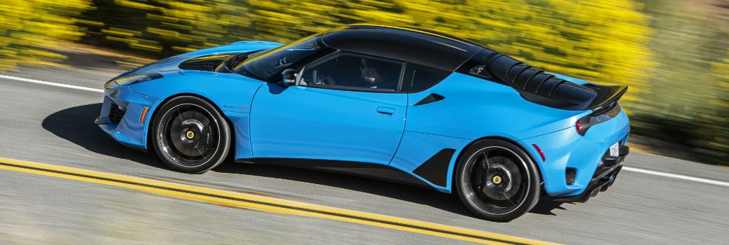 2020 Lotus Evora GT Cyan Blue Exterior Driver Side Rear Profile