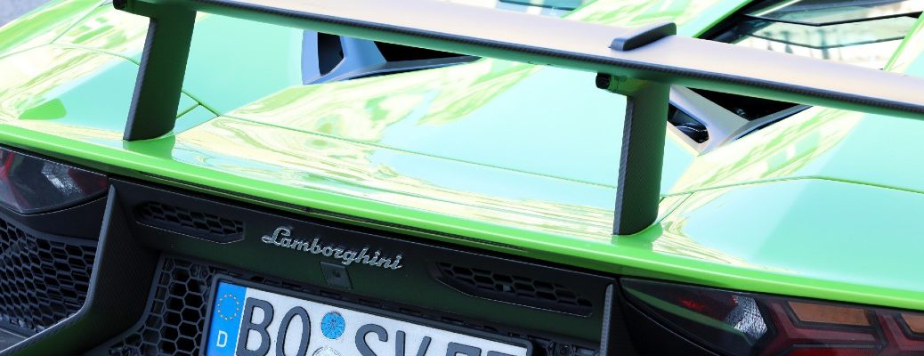 A stock photo of the rear wing used by a Lamborghini.