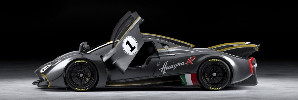 Digital Render of the Pagani Huayra R Exterior Driver Side Profile Doors Up