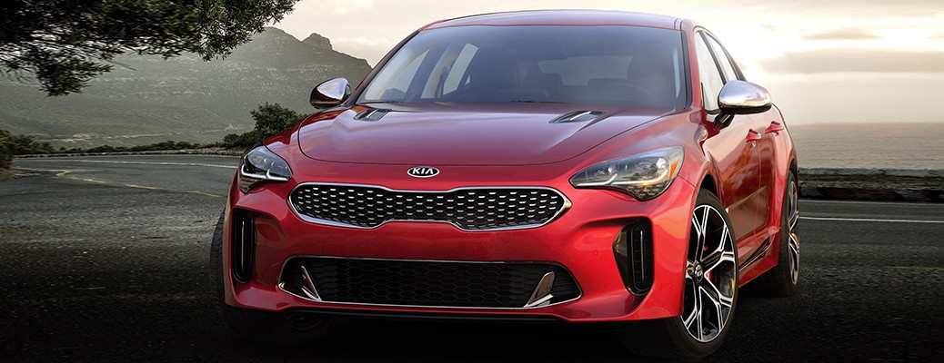 Front view of 2021 Kia Stinger color red