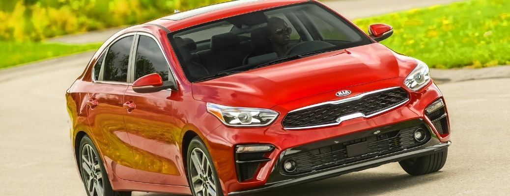 front view of 2021 Kia Forte in red color