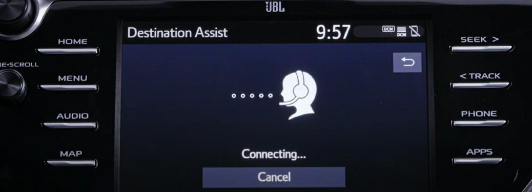 Destination Assist on the touchscreen inside a Toyota vehicle