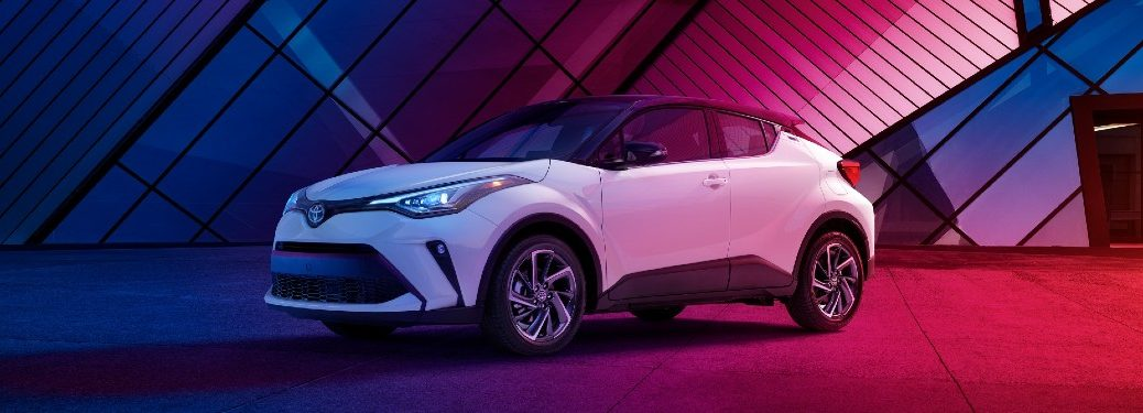 Front driver angle of a white 2021 Toyota C-HR