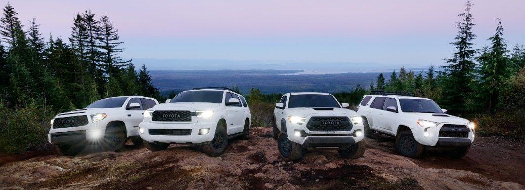 Lineup of 2021 Toyota TRD Pro vehicles including the 4Runner, Sequoia, Tacoma, and Tundra
