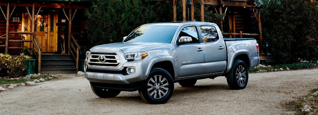 Front driver angle of a silver 2021 Toyota Tacoma