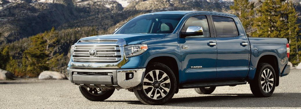 Front driver angle of a blue 2021 Toyota Tundra