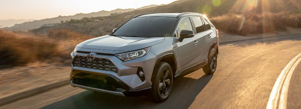 Front driver angle of a silver 2021 Toyota RAV4