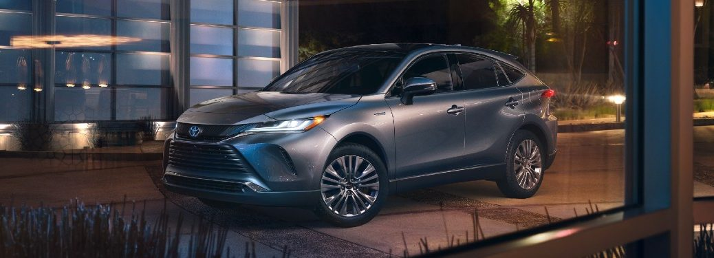 Front driver angle of a silver 2021 Toyota Venza