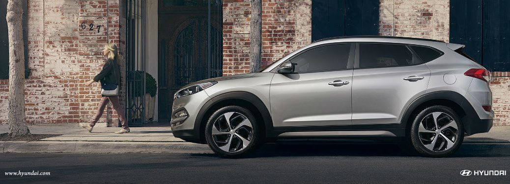 Driver side exterior view of a gray 2018 Hyundai Tucson