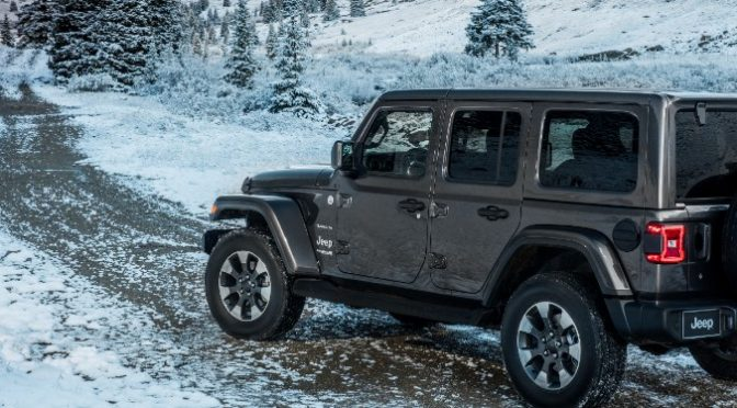 2021 Jeep Wrangler on frosted winter trail