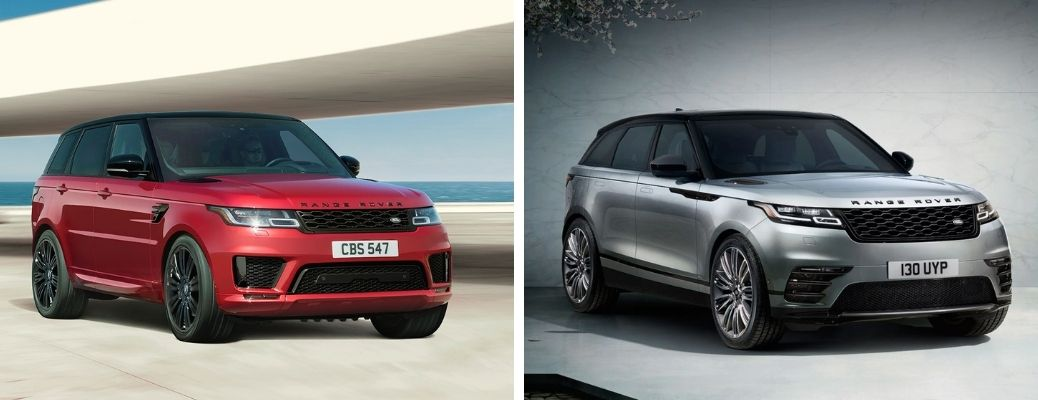 2021 Land Rover Range Rover Sport in red and 2021 Land Rover Range Rover Velar in gray