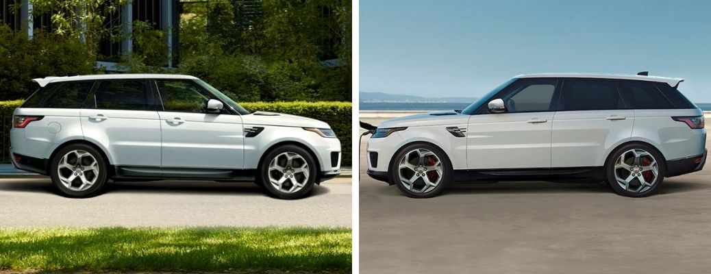 2021 Land Rover Range Rover Sport PHEV in white and 2021 Land Rover Range Rover PHEV in white