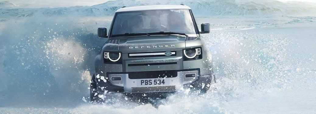 Gray 2021 Land Rover Defender in Snow