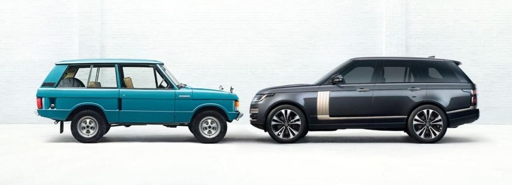 An original Tuscan Blue 1970 Range Rover next to a brand-new Carpathian Grey colored 2021 Range Rover Fifty Edition