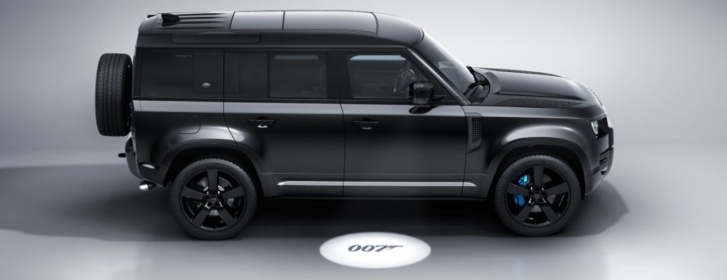 Side view of the Blacked out Land Rover Defender V8 Bond Edition with 007 logo below