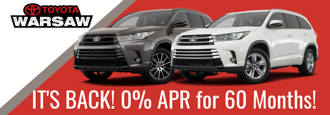 0 Interest For 60 Months On The 2018 Toyota Highlander