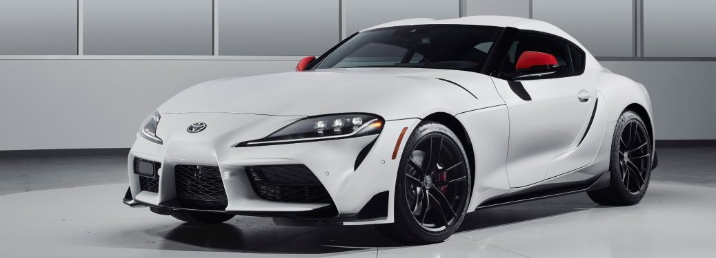 Side view of a white 2020 Toyota Supra