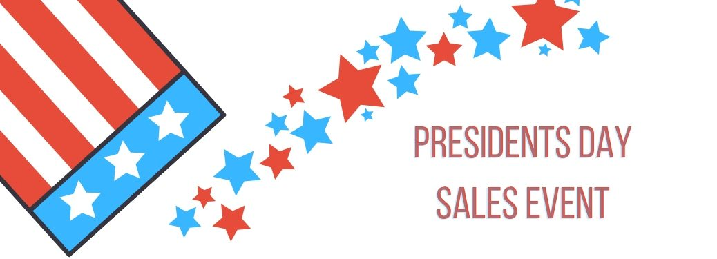 presidents day sales event with american flag graphic and stars