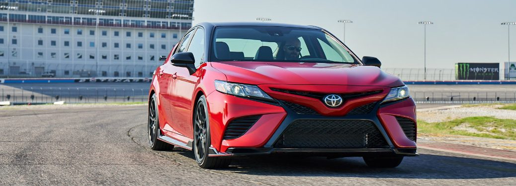 front view of red toyota camry