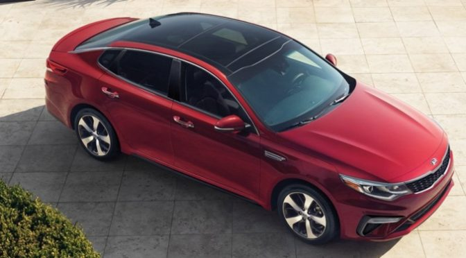 2019 Kia Optima red top side view