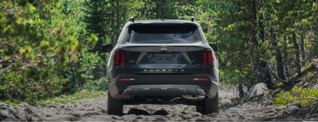 2021 Kia Sorento driving front view in forest