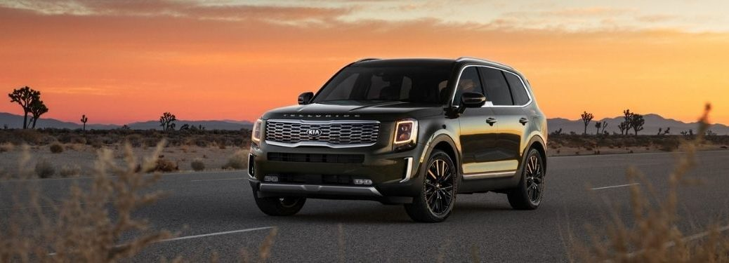 2022 Kia Telluride captured in the background of a sunset