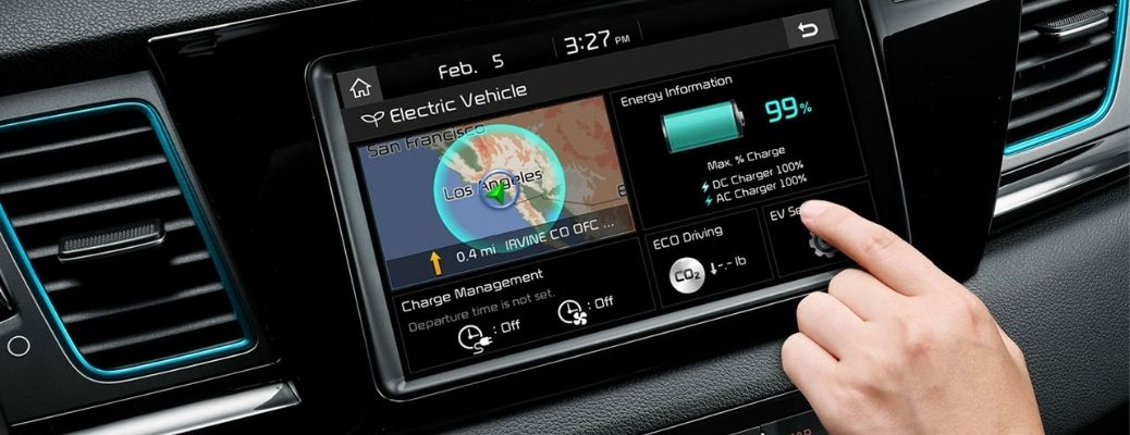 EV Charging percentage displayed in an infotainment system