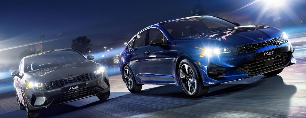 2021 Kia K5 Exterior fear view blue and grey