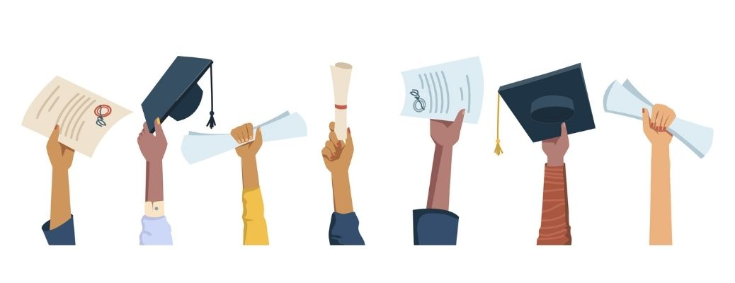 Set of hands of students with graduation hats and scholarship forms