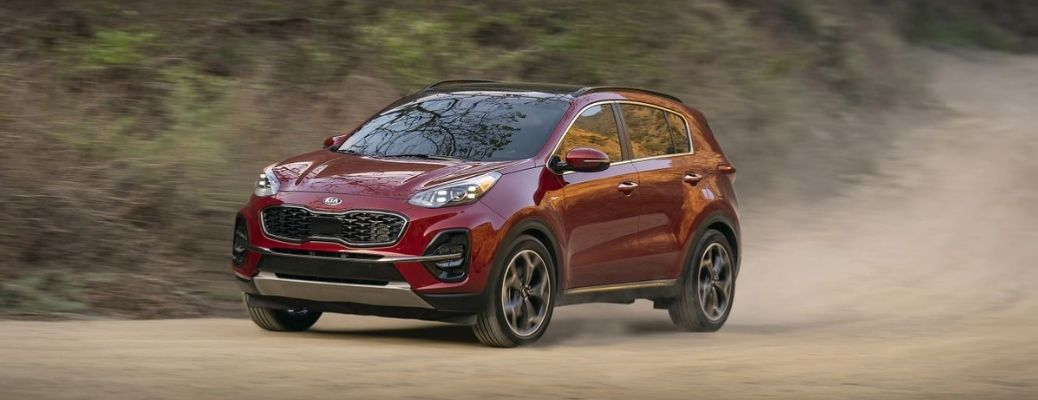 2022 Kia Sportage Red Front and Side View on the Road