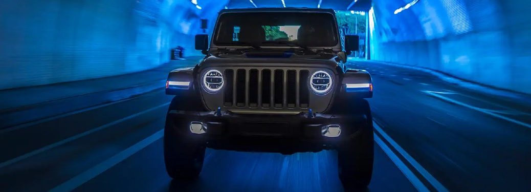 2021 Jeep Wrangler 4xe in blue tunnel