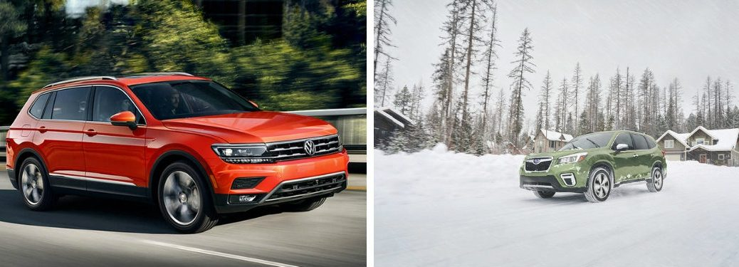 Exterior of 2019 Volkswagen Tiguan and 2019 Subaru Forester